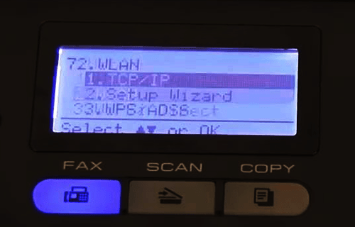 Connecting the Brother printer to the wireless network