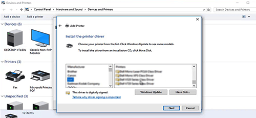 Step 6: Installing the printer driver